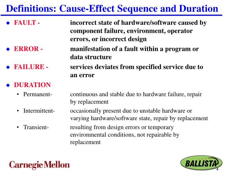 Definitions: Cause-Effect Sequence and Duration