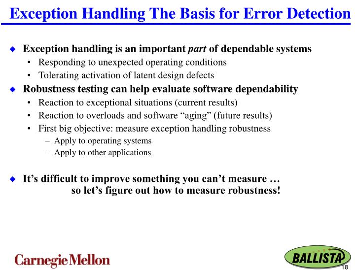 Exception Handling The Basis for Error Detection