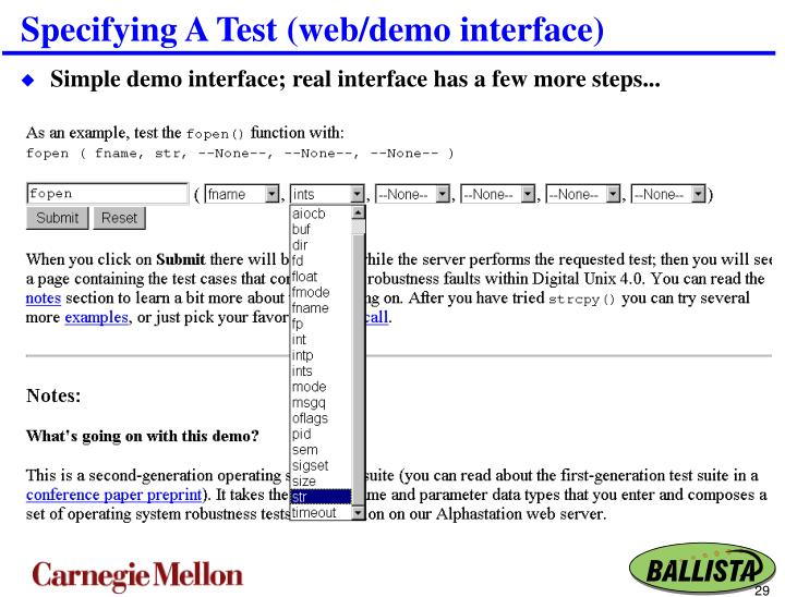 Specifying A Test (web/demo interface)