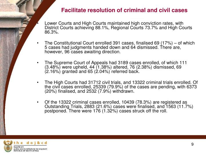 Facilitate resolution of criminal and civil cases