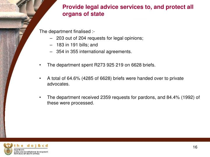 Provide legal advice services to, and protect all organs of state