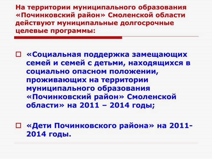 На территории муниципального образования «Починковский район» Смоленской области действуют муниципальные долгосрочные целевые программы: