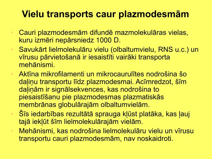 Vielu transports caur plazmodesmām