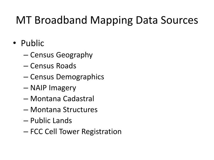 MT Broadband Mapping Data
