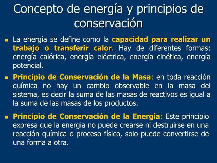 Concepto de energía y principios de conservación