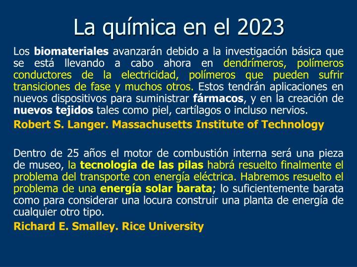 La química en el 2023