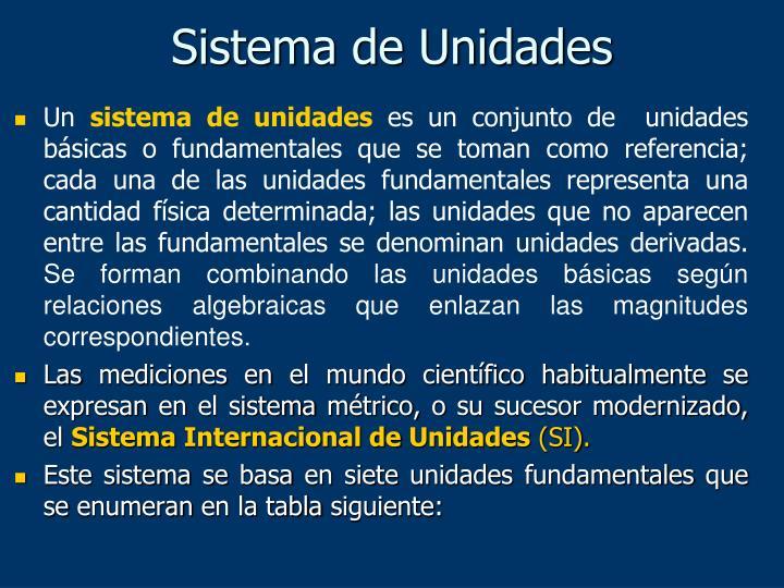 Sistema de Unidades