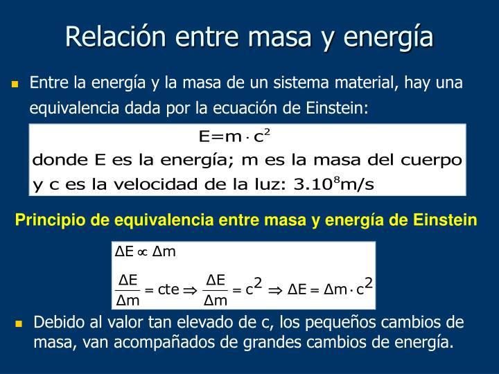 Relación entre masa y energía