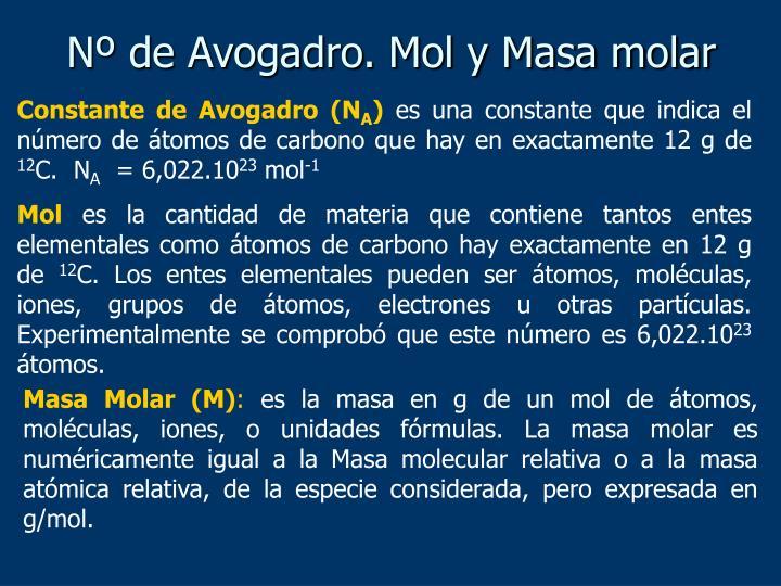 Nº de Avogadro. Mol y Masa molar