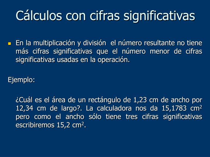 Cálculos con cifras significativas