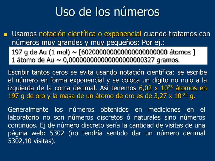 Uso de los números