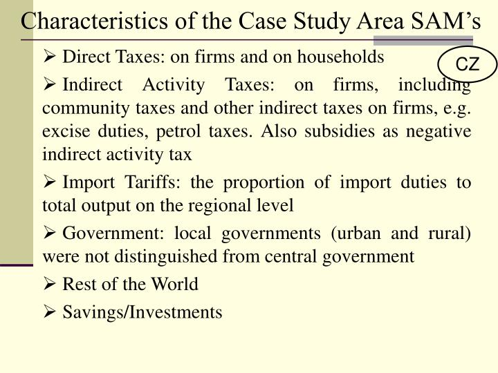 Characteristics of the Case Study Area SAM's