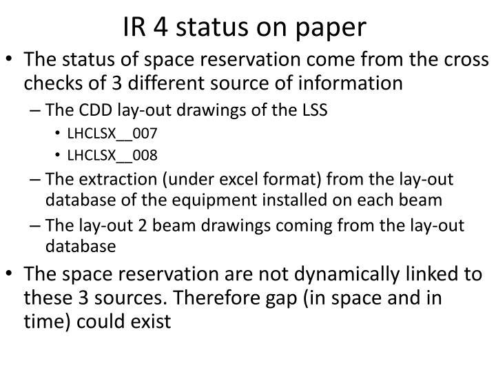 IR 4 status on paper