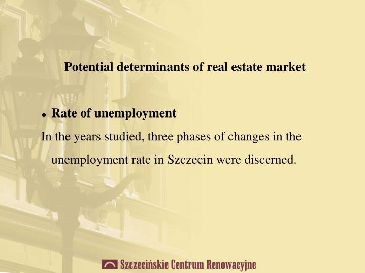 Potential determinants of real estate market