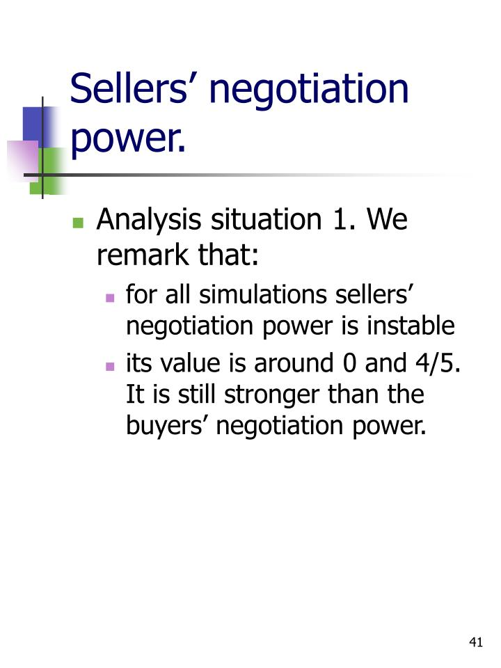 Sellers' negotiation power.