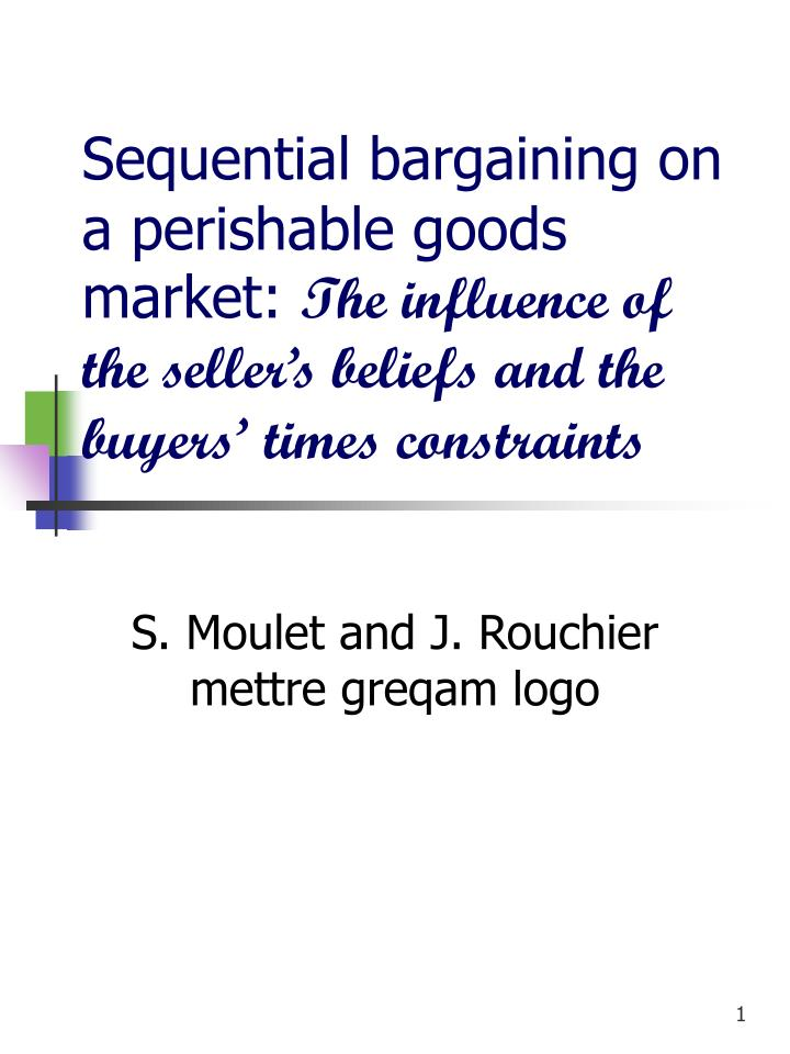 Sequential bargaining on a perishable goods market: