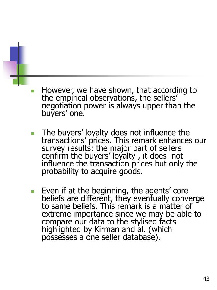 However, we have shown, that according to the empirical observations, the sellers' negotiation power is always upper than the buyers' one.