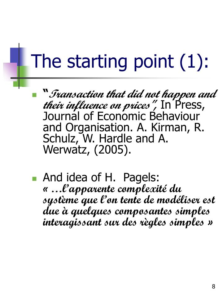 The starting point (1):