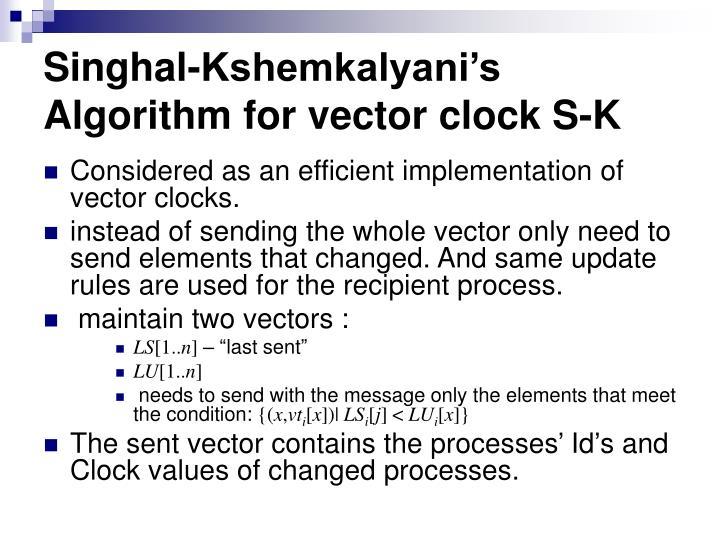 Singhal-Kshemkalyani's Algorithm for vector clock S-K