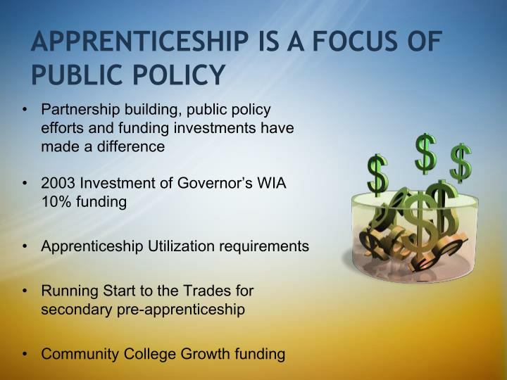 APPRENTICESHIP IS A FOCUS OF PUBLIC POLICY