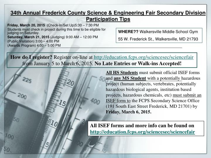 34th annual frederick county science engineering fair secondary division participation tips