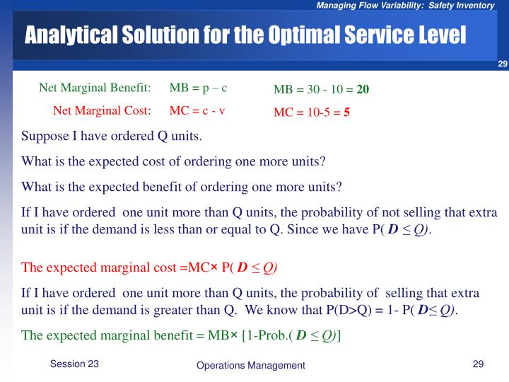 Analytical Solution for the Optimal Service Level
