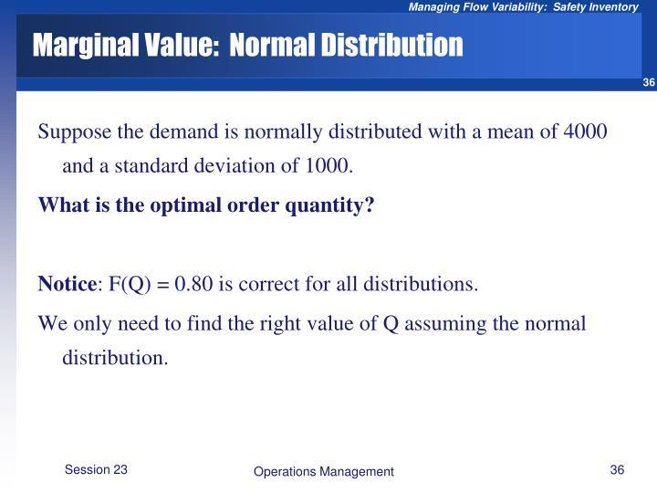 Marginal Value:  Normal Distribution
