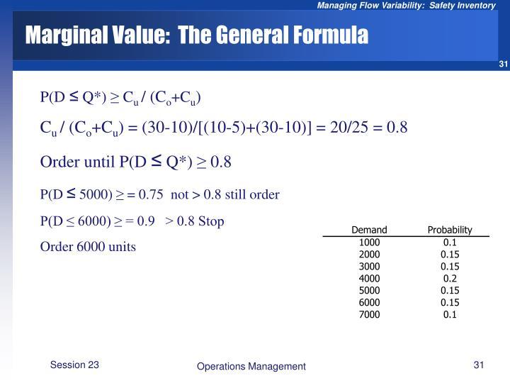 Marginal Value:  The General Formula