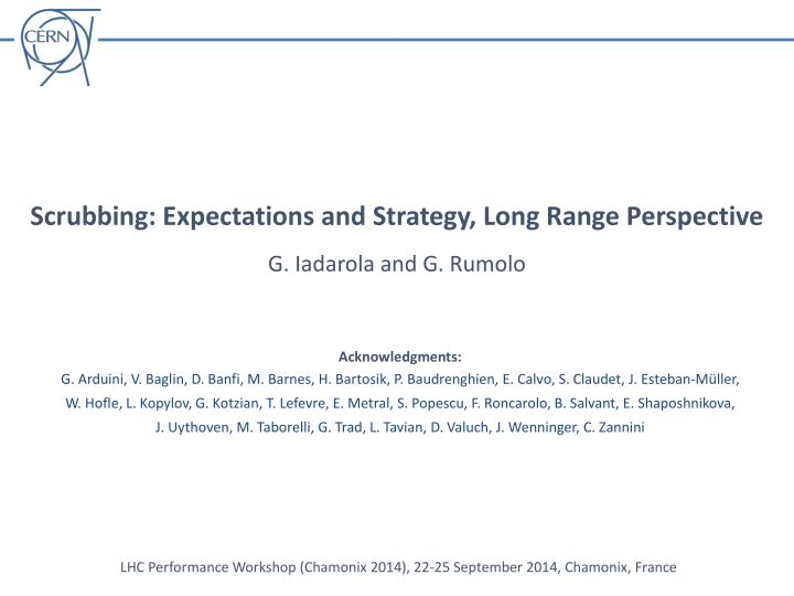 Scrubbing: Expectations and Strategy, Long Range Perspective