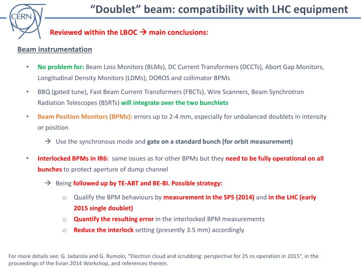 """Doublet"" beam: compatibility with LHC equipment"