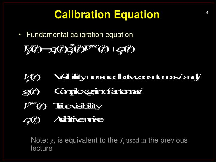 Calibration Equation