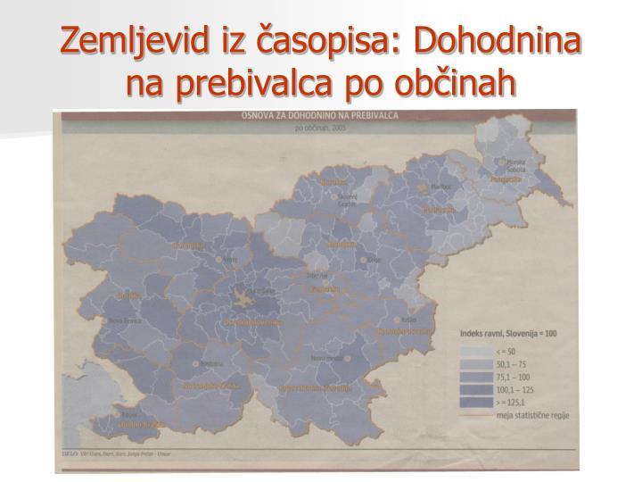 Zemljevid iz časopisa: Dohodnina na prebivalca po občinah
