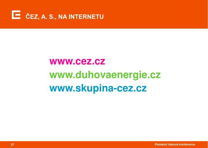 ČEZ, A. S., NA INTERNETU