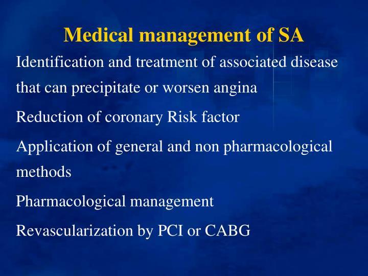 Medical management of SA