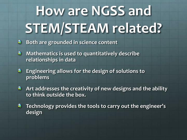 How are NGSS and STEM/STEAM related?