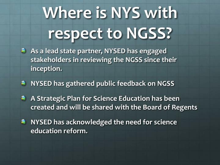 Where is NYS with respect to NGSS?
