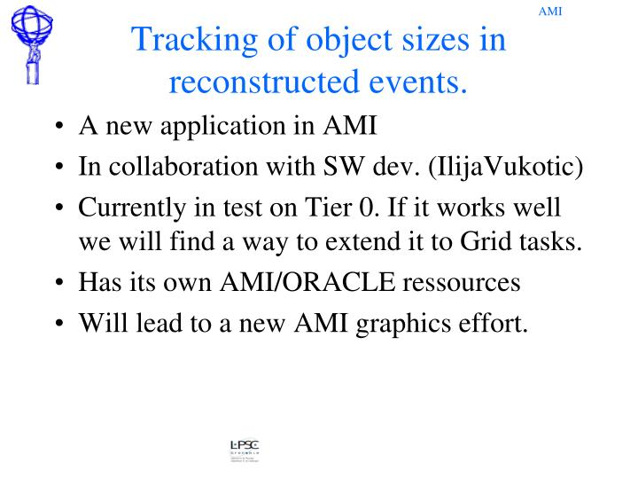 Tracking of object sizes in reconstructed events.