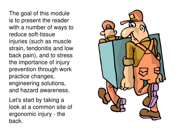 The goal of this module is to present the reader with a number of ways to reduce soft-tissue injuries (such as muscle strain, tendonitis and low back pain), and to stress the importance of injury prevention through work practice changes, engineering solutions, and hazard awareness.