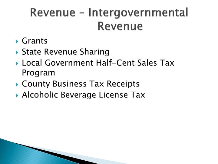 Revenue – Intergovernmental Revenue