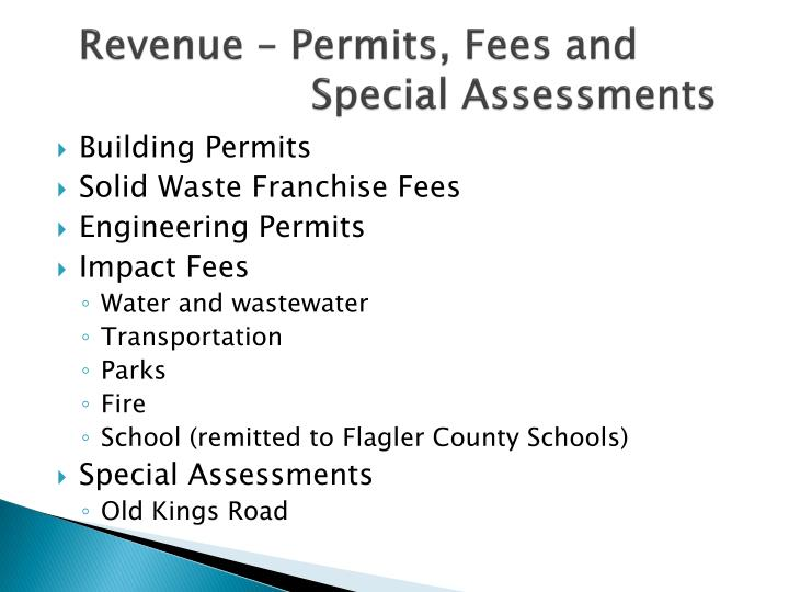 Revenue – Permits, Fees and     Special Assessments