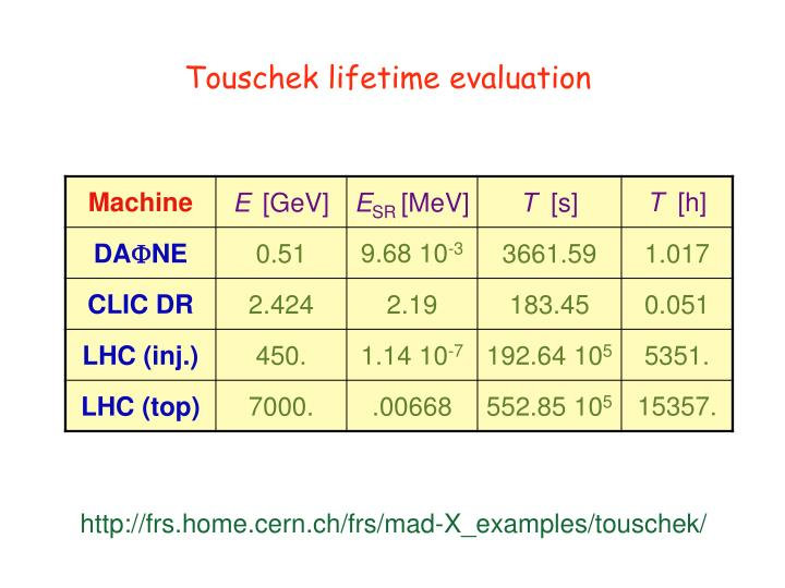 Touschek lifetime evaluation