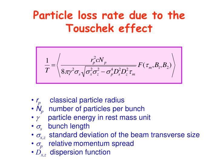 Particle loss rate due to the