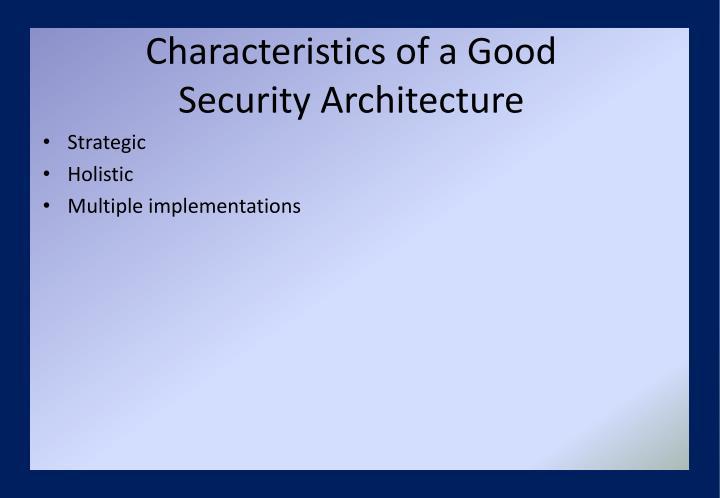 Characteristics of a Good