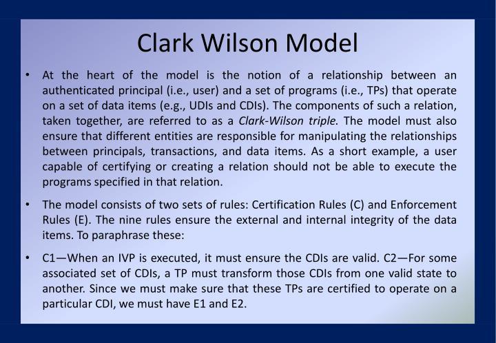 Clark Wilson Model