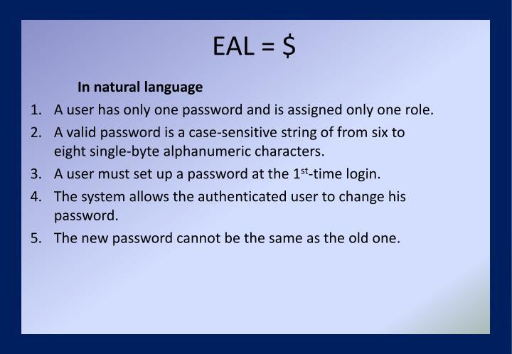 EAL = $