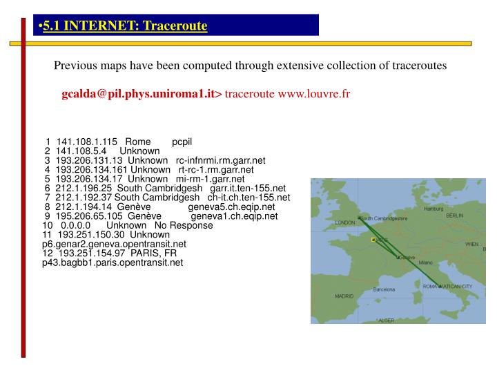5.1 INTERNET: Traceroute