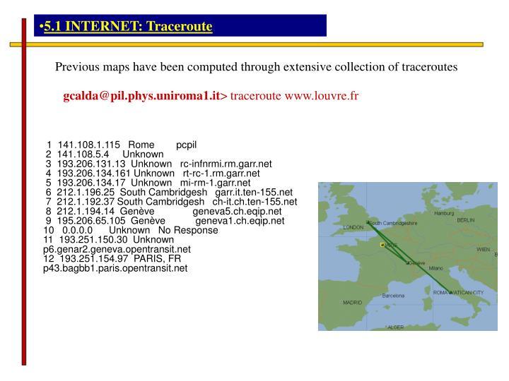 5.1 INTERNET: Traceroute