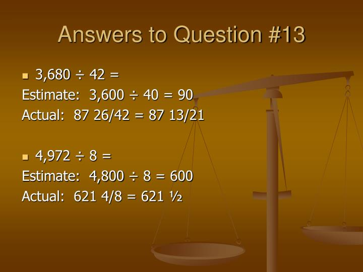 Answers to Question #13