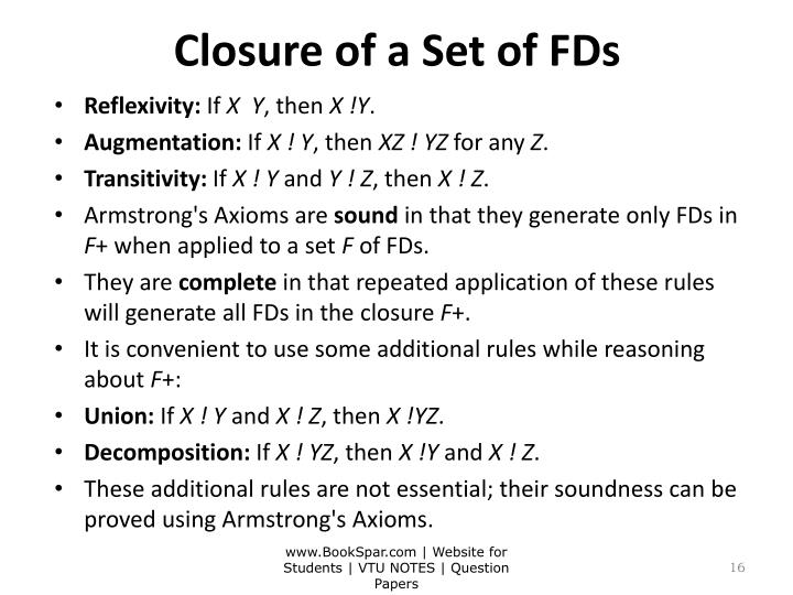 Closure of a Set of FDs