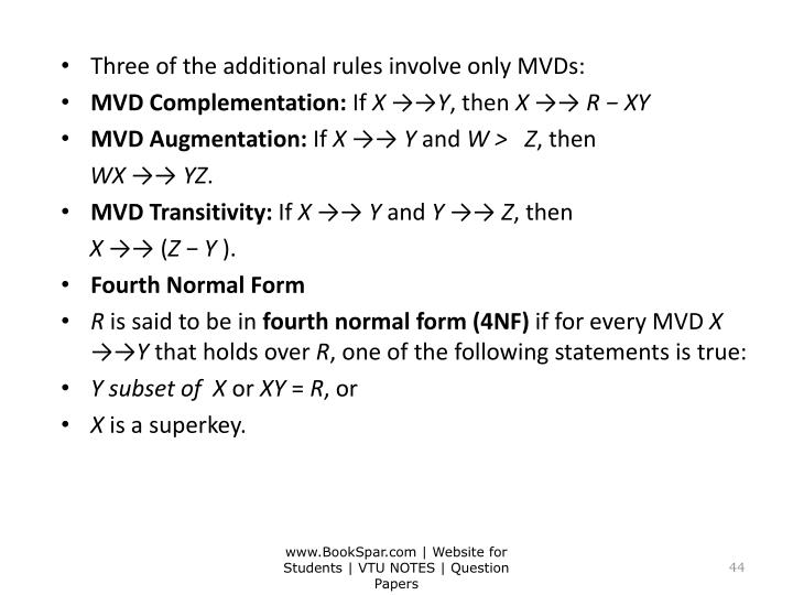 Three of the additional rules involve only MVDs: